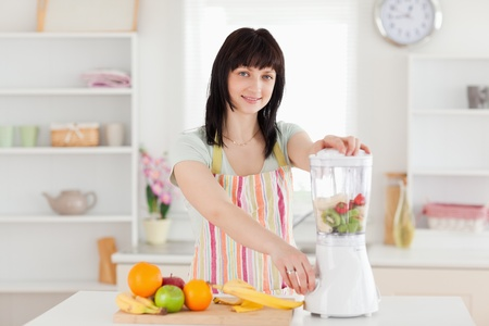 Attractive brunette woman using a mixer while standing in the kitchen Stock Photo - 10071818