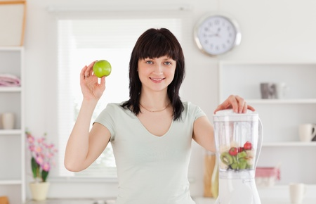 Charming brunette female posing while standing in the kitchen Stock Photo - 10070395