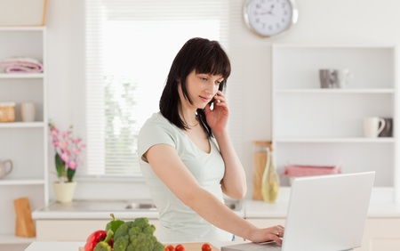 Lovely brunette woman on the phone while relaxing with her laptop in the kitchen photo