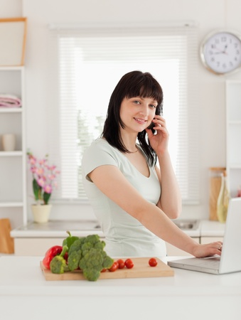 Cute brunette woman on the phone while relaxing with her laptop in the kitchen photo