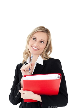 Thoughtful businesswoman with a pen and a red folder Stock Photo - 10075075