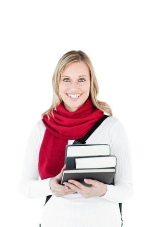 Attractive woman holding books wearing a red scarf photo