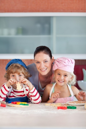 childrens food: Enamoured mother with her two children
