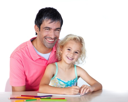 Cheerful father and daughter drawing photo