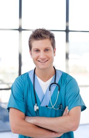 surgical scrubs: Attractive male nurse
