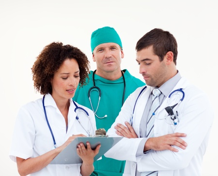 Serious team of doctors working together  photo