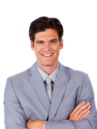 assertive: Smiling assertive businessman with folded arms  Stock Photo