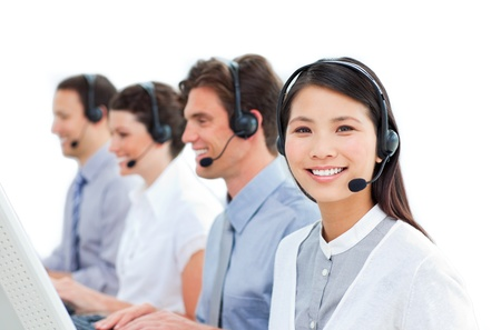 customer service representative: Busy customer service representatives  Stock Photo