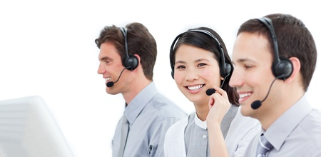 Concentrated customer service representatives team Stock Photo - 10075450