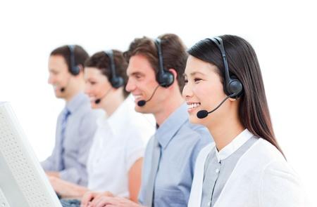 Happy customer service representatives team Stock Photo - 10087139