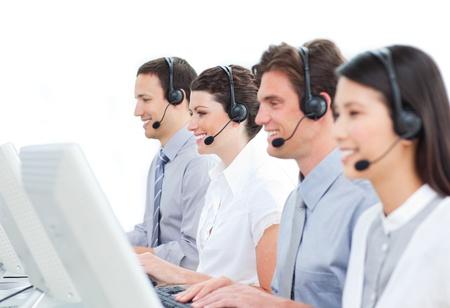 Delighted customer service representatives team  photo