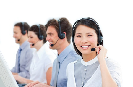 Busy customer service representatives team Stock Photo - 10087561