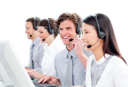 Cute customer service representatives team Stock Photo - 10087434