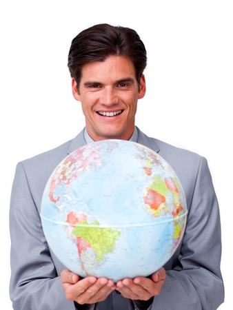 Handsome businessman holding a terrestrial globe Stock Photo - 10075728