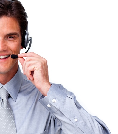 Successful businessman using a headset photo