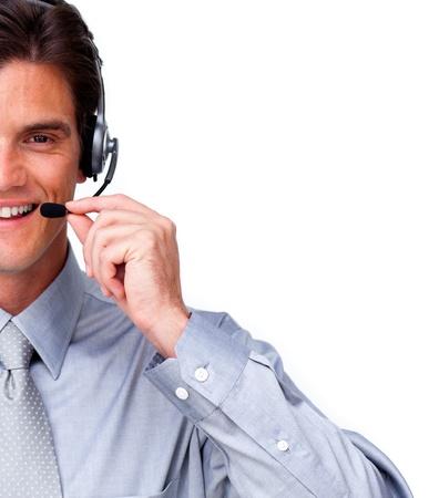 Successful businessman using a headset photo