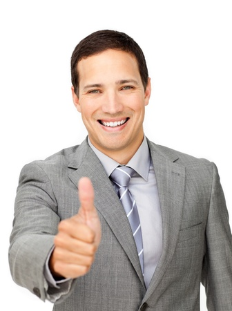 Young businessman with thumb up  photo