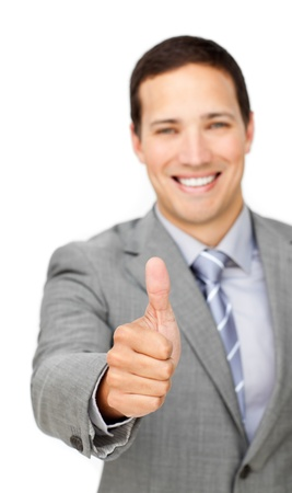 Cheerful businessman with thumb up  photo