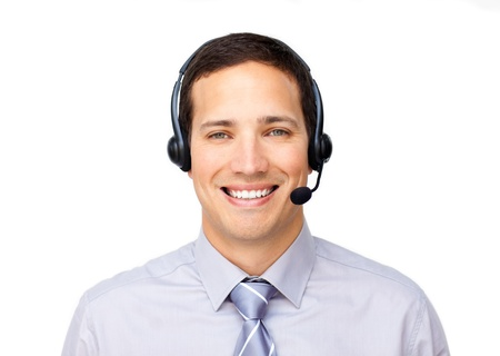 personal service: Caucasian customer service agent using headset