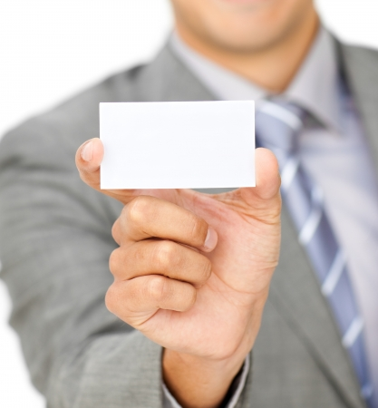 Focus on a white card  photo