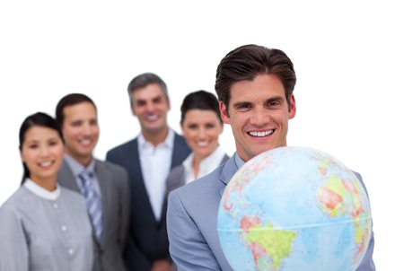 corporate travel: United international business team working together