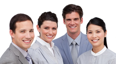 teaming: Portrait of a confident business team working together Stock Photo