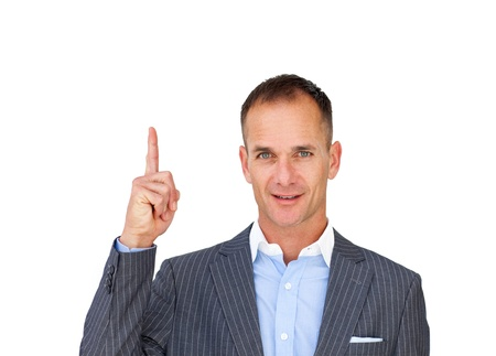 Positive attractive businessman pointing upward  photo