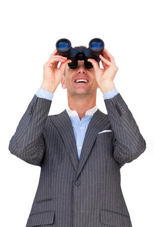 predicting: Cheerful businessman predicting future sales