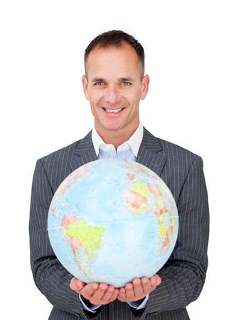 online internet presence: Assertive businessman holding a terreatrial globe