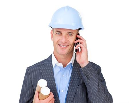 draftsman: Assertive male engineer talking on phone