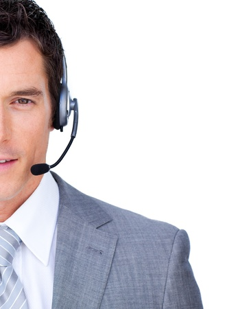 Close-up of a businessman using headset  photo