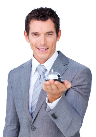 self service: Assertive businessman showing a service bell  Stock Photo