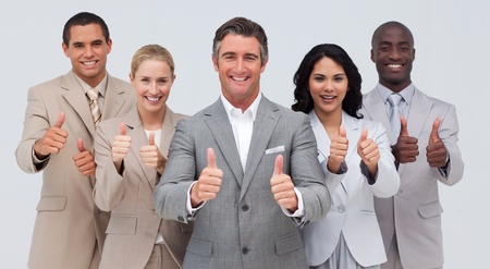 Affaires confiant font équipe avec les pouces Banque d'images