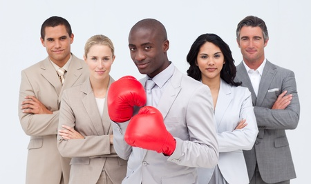 powe: Afro-American businessman boxing and  leading his team