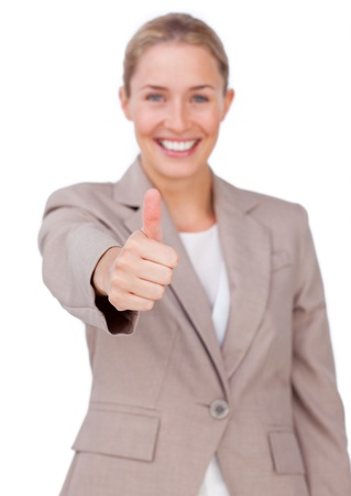 Successful businesswoman with thumb up  Stock Photo - 10075506