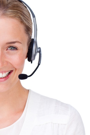 contact center: Radiant businesswoman making a sign Stock Photo
