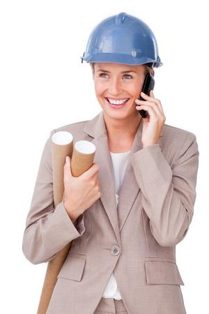 Confident businesswoman talking on phone photo