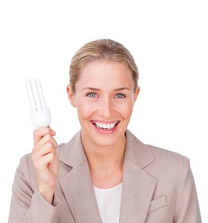 Radiant businesswoman holding a terrestrial globe Stock Photo - 10075541