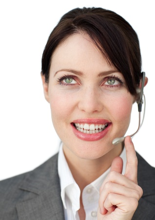 Charming businesswoman with headset photo