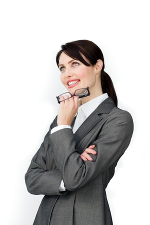 Beautiful Businesswoman with headset on working  photo