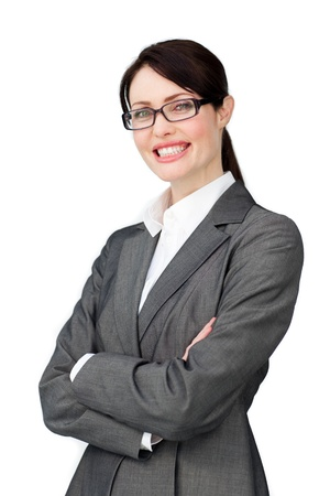 Radiant Businesswoman with headset on working  photo