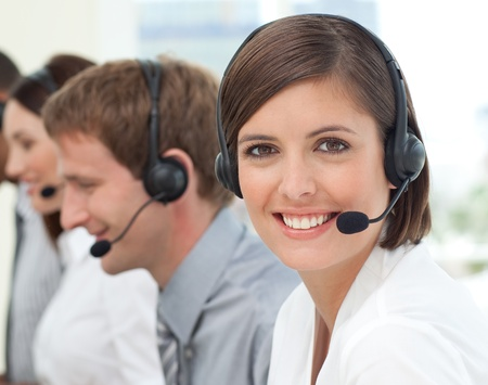 Female customer service agent in a call center photo