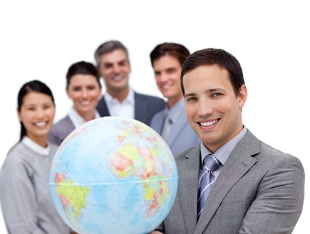 communications: Confident business team working together