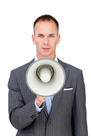 Serious businessman holding a megaphone Stock Photo - 10090959