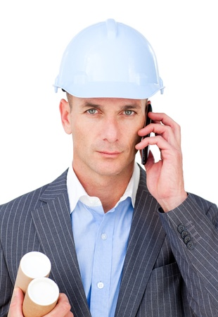 Serious male architect on phone Stock Photo - 10094144