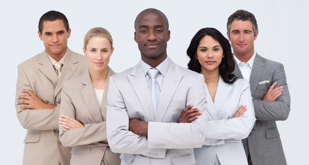 Confident Afro-American businessman leading his team photo