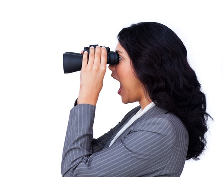 Surprised businesswoman looking to the future  photo
