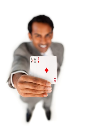 Businessman holding an ace cards Stock Photo - 10090507