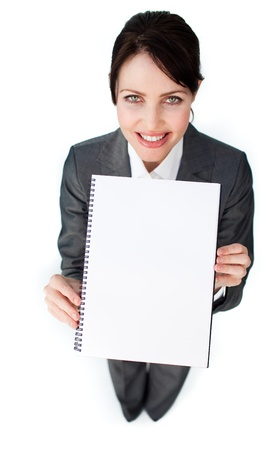 Sparkling businesswoman holding a notebook  photo