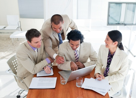 Ambitious business team having a brainstorming photo